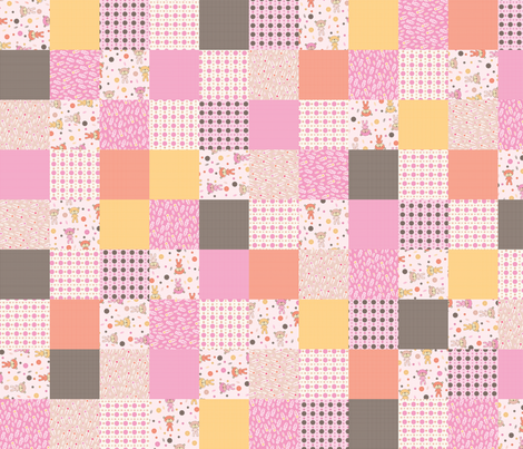 Baby Bear Cheater/Sampler (pink) fabric by mondaland on Spoonflower - custom fabric