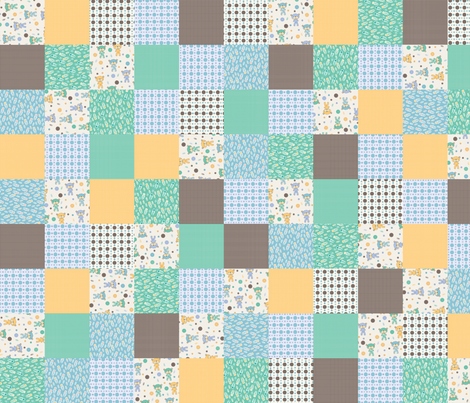 Baby Bear Cheater/Sampler (blue) fabric by mondaland on Spoonflower - custom fabric