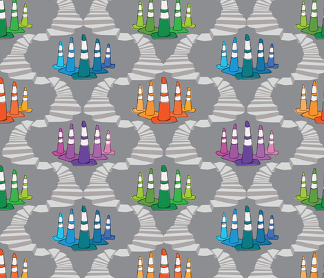 traffic-cones-on-a-neverending-stacase fabric by circlesandsticks on Spoonflower - custom fabric