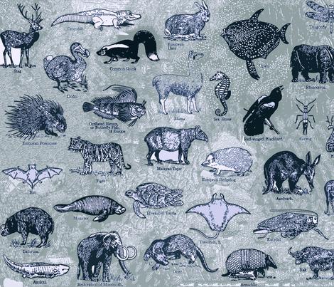 BLUE_ANIMALS fabric by pricklymonkey on Spoonflower - custom fabric