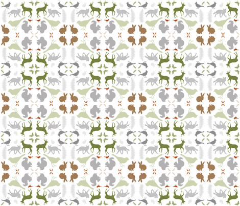Woodland Animal Damask fabric by kirstin_e on Spoonflower - custom fabric