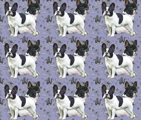 Frenchies_in_the_garden fabric by dogdaze_ on Spoonflower - custom fabric