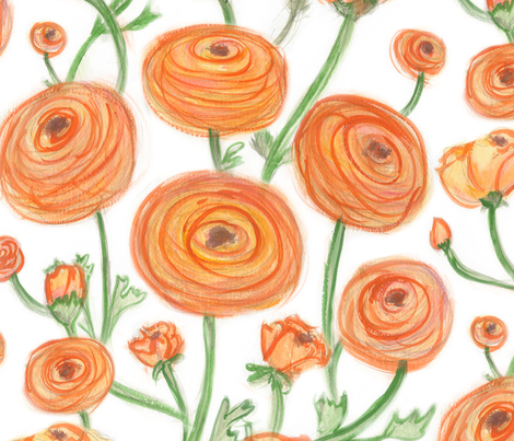 Orange Ranunculus fabric by jaana on Spoonflower - custom fabric