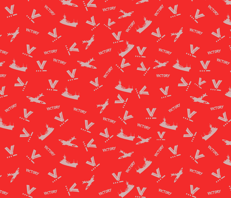 WWII Victory Fabric - Orange and Grey fabric by kitten_von_mew on Spoonflower - custom fabric