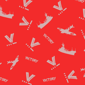WWII Victory Fabric - Orange and Grey