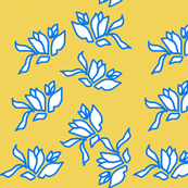 Genevieve's Window, June White and Periwinkle on Mustard