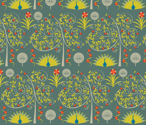 peacocks in the garden fabric by sary on Spoonflower - custom fabric