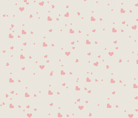 Pink Hearts on Cream fabric by amyteets on Spoonflower - custom fabric