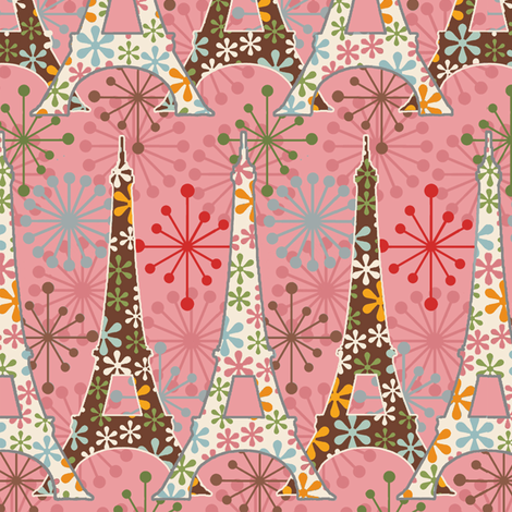 sparkling Paris / Pink fabric by hoodiecrescent&stars on Spoonflower - custom fabric