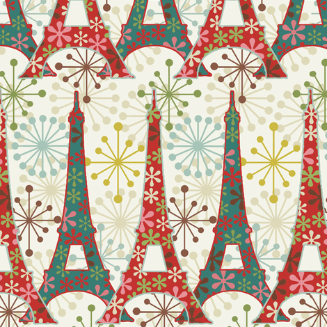 Sparkling Paris / Cream fabric by hoodiecrescent&stars on Spoonflower - custom fabric