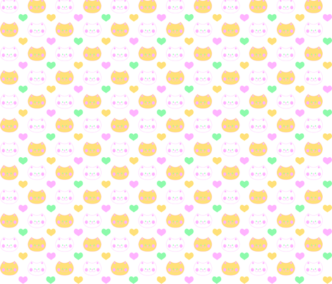 Love Cats fabric by pininkie on Spoonflower - custom fabric