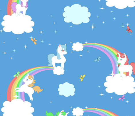 Playful Unicorns and Rainbows fabric by lyddiedoodles on Spoonflower - custom fabric