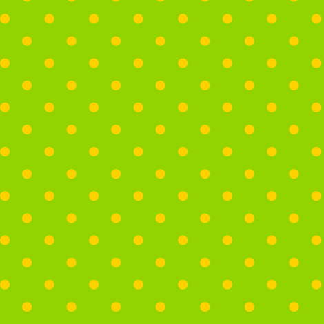 Yellow Polka Dots on Green Background fabric by stitchwerxdesigns on Spoonflower - custom fabric