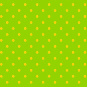 Yellow Polka Dots on Green Background