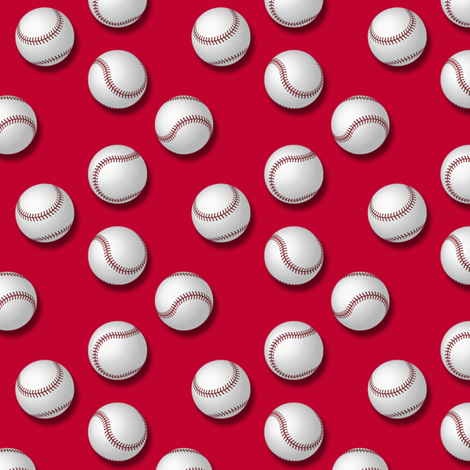 Americana: Baseballs on Red fabric by lavaguy on Spoonflower - custom fabric