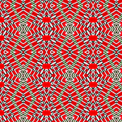 Tile weaving in red.