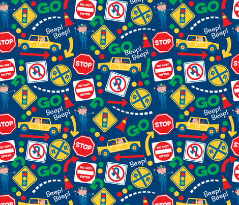 Road Signs fabric by edmillerdesign on Spoonflower - custom fabric