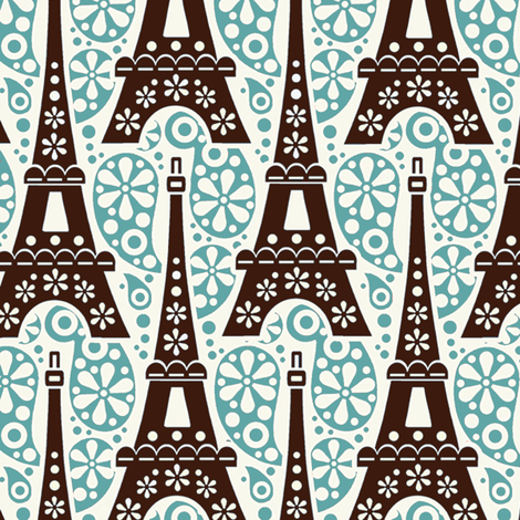 Eiffel on Paisley / Jade fabric by hoodiecrescent&stars on Spoonflower - custom fabric