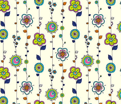 Flower Forest Vines fabric by raebekah on Spoonflower - custom fabric