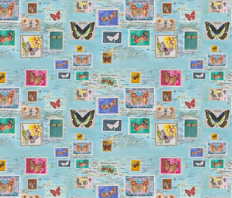 Butterflying the Carribean fabric by aftermyart on Spoonflower - custom fabric