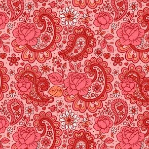 Pink And Red Paisley