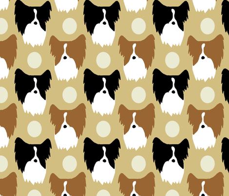 Simple color Papillon faces - tan fabric by rusticcorgi on Spoonflower - custom fabric