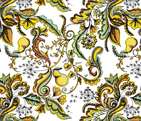 Pears & Dandelions fabric by rgushi on Spoonflower - custom fabric