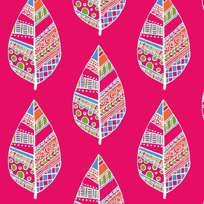 patterned leaf huge pink