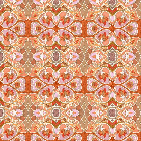 Minuet of the Heart (peach/tan/orange) fabric by edsel2084 on Spoonflower - custom fabric