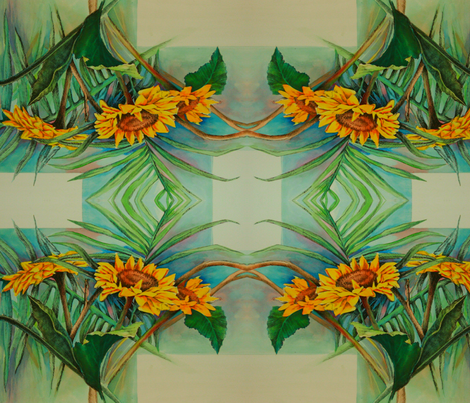 Sunflowers All Around-ed fabric by thats_artrageous on Spoonflower - custom fabric