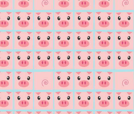 Piggy Delight in Blue fabric by me-udesign on Spoonflower - custom fabric