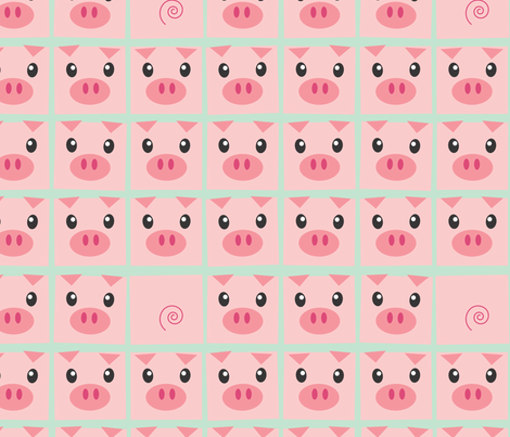 Piggy Delight in Mint fabric by me-udesign on Spoonflower - custom fabric
