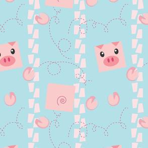 Dancing Pigs on Blue