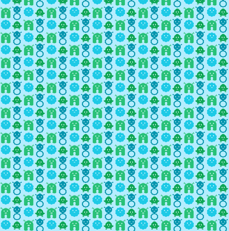Monsters in a Row - boy - teeny tiny fabric by jesseesuem on Spoonflower - custom fabric