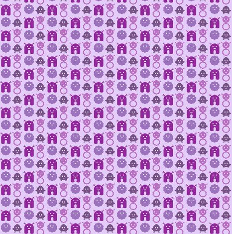 Monsters in a Row - purples - teeny tiny fabric by jesseesuem on Spoonflower - custom fabric