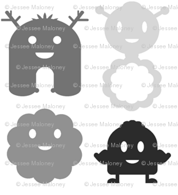 Monsters in a Row - black and grey on white background - teeny tiny