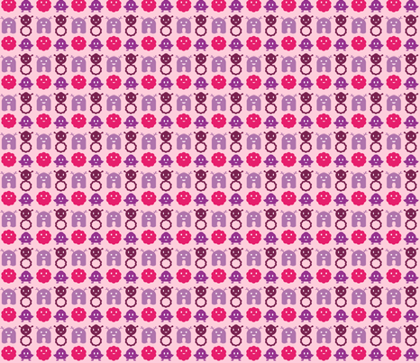 Monsters in a Row - girl  - teeny tiny fabric by jesseesuem on Spoonflower - custom fabric