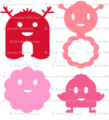 Monsters in a Row - girl white background - teeny tiny