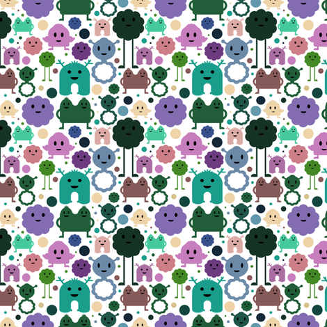 Monsters On the Loose - Teal, Lilac, Olive - teeny tiny fabric by jesseesuem on Spoonflower - custom fabric