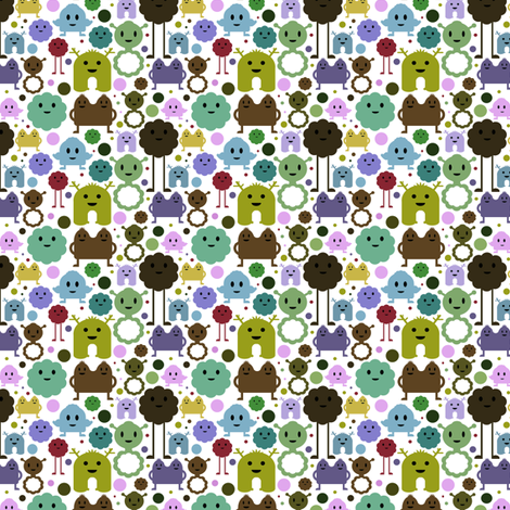 Monsters On the Loose - Teals, Browns and Olive - teeny tiny fabric by jesseesuem on Spoonflower - custom fabric