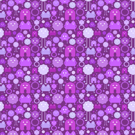 Monsters on the Loose - purples  - small fabric by jesseesuem on Spoonflower - custom fabric
