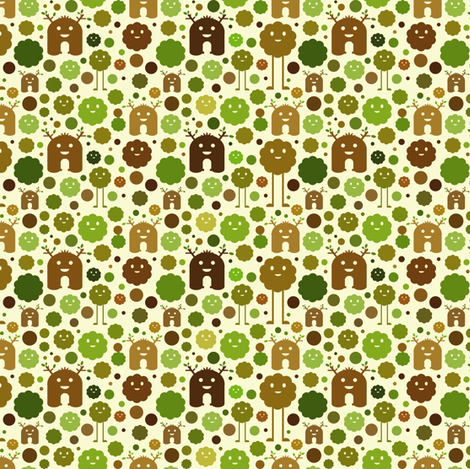 Nature Monsters - teeny tiny fabric by jesseesuem on Spoonflower - custom fabric