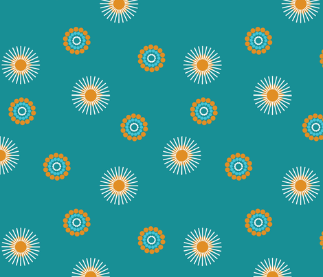 Flare_Teal fabric by designedtoat on Spoonflower - custom fabric