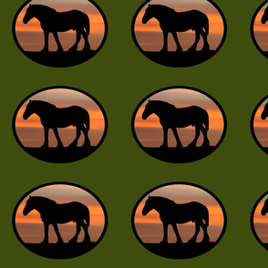 Heavy Horses Silhouettes Olive