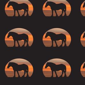 Heavy Horses Silhouette Storm