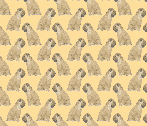 Sitting Wheaten Terriers - gold fabric by rusticcorgi on Spoonflower - custom fabric