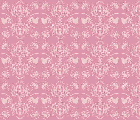 Chick_Chick_Pink_Damask_Lighter fabric by lana_gordon_rast_ on Spoonflower - custom fabric