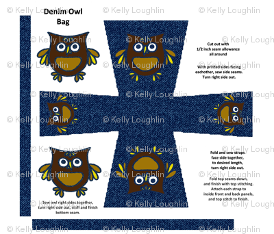 Denim Owl Bag