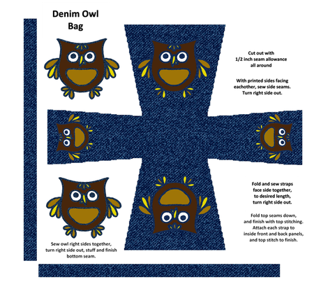 Denim Owl Bag fabric by kdl on Spoonflower - custom fabric