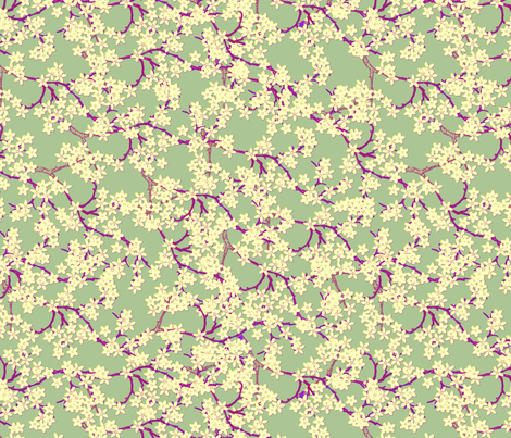 pale yellow plum on palegreen fabric by glimmericks on Spoonflower - custom fabric